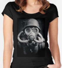 WWII German Solider in a Gas Mask Women's Fitted Scoop T-Shirt