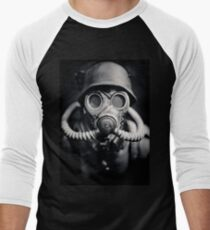 WWII German Solider in a Gas Mask Men's Baseball ¾ T-Shirt