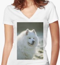 Smiling Samoyed  Women's Fitted V-Neck T-Shirt