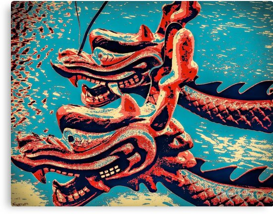 Chinese Dragon Boats - Pop Art Style by Barbara Storey