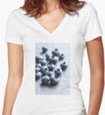Fresh Blueberries Women's Fitted V-Neck T-Shirt