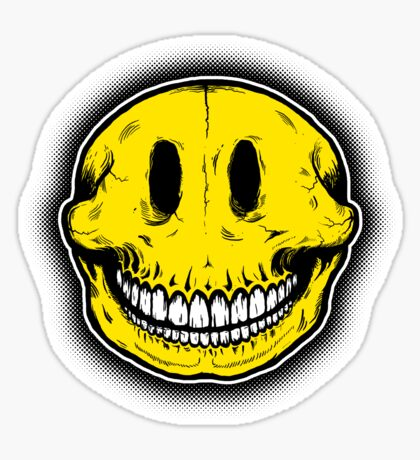 Smiley Skull Sketch Sticker