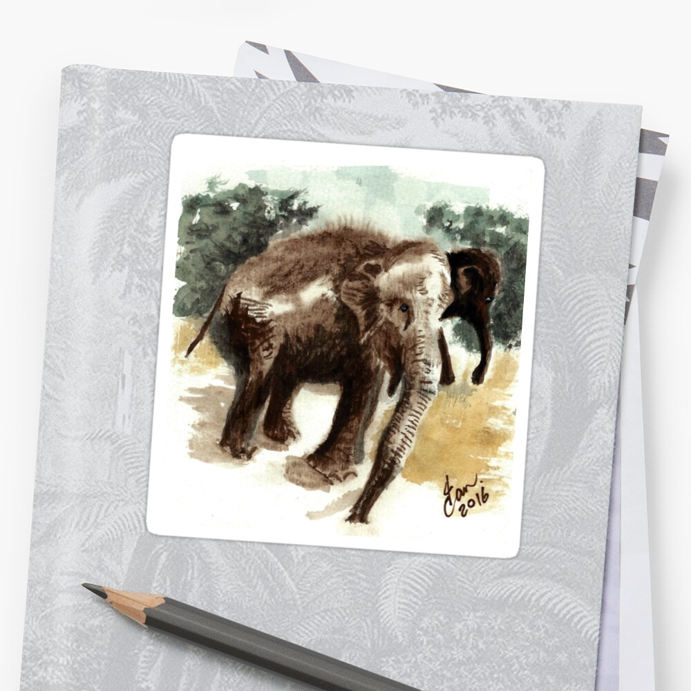 Elephant in watercolour by andorianlad