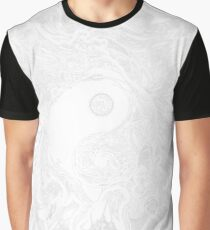 Zen Doodle Yin Yang Snow White Ornate Graphic T-Shirt