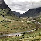 The A82 road sweeps through Glencoe, Highlands of Scotland by Richard Flint