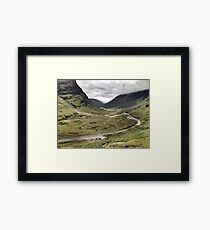 The A82 road sweeps through Glencoe, Highlands of Scotland Framed Print