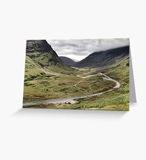 The A82 road sweeps through Glencoe, Highlands of Scotland Greeting Card
