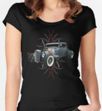 Pinstripe Hot Rod Women's Fitted Scoop T-Shirt