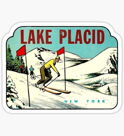 Ski Lake Placid New York Vintage Travel Decal Sticker