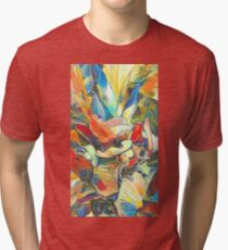 Iris Floral Abstract Design Tri-blend T-Shirt