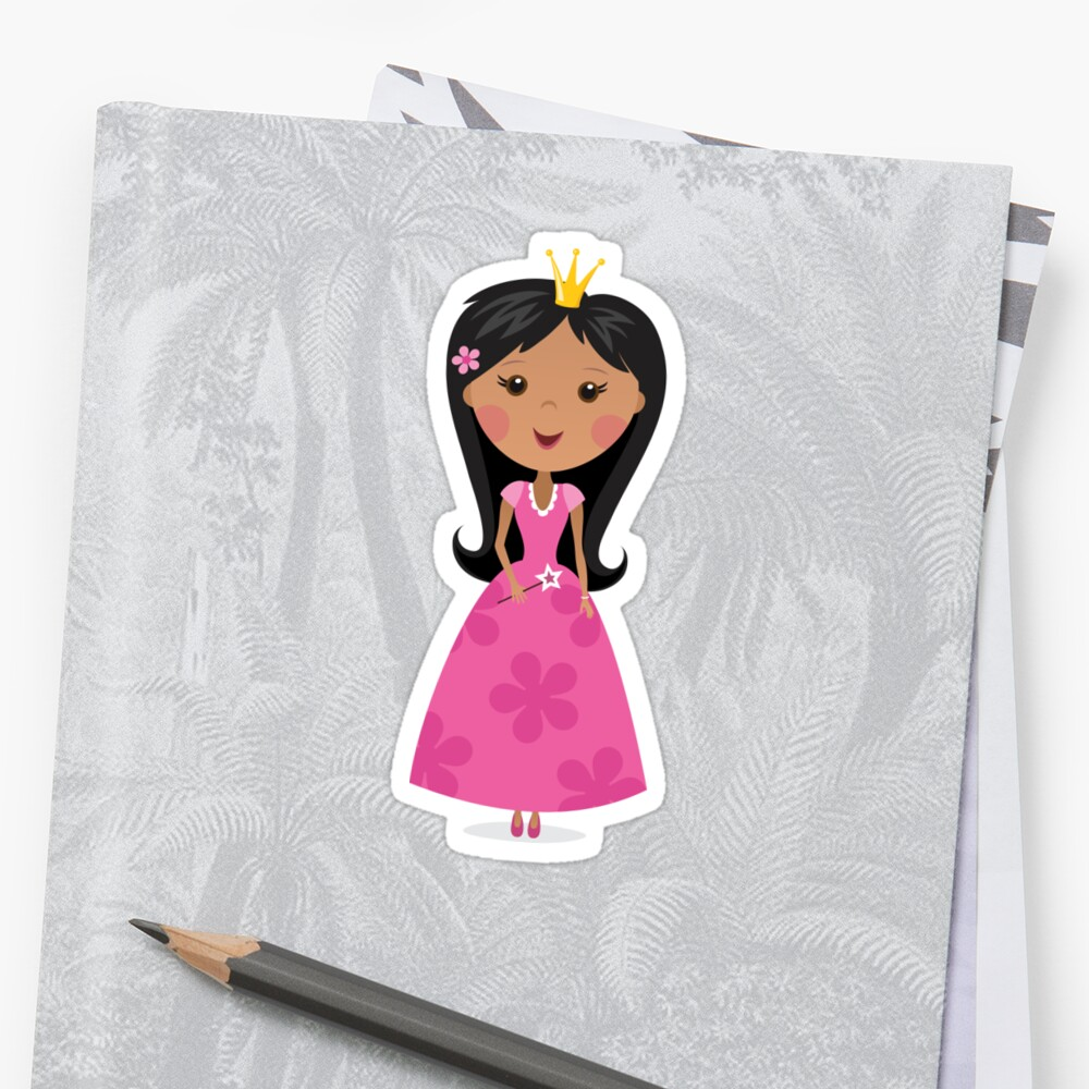 African american or asian princess sticker by MheaDesign