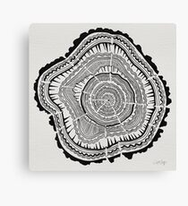 Tree Rings – Black on White Canvas Print