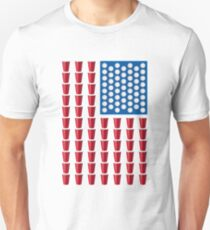 Beer Pong Drinking Game American Flag Beer T Shirts Funny Unisex T-Shirt