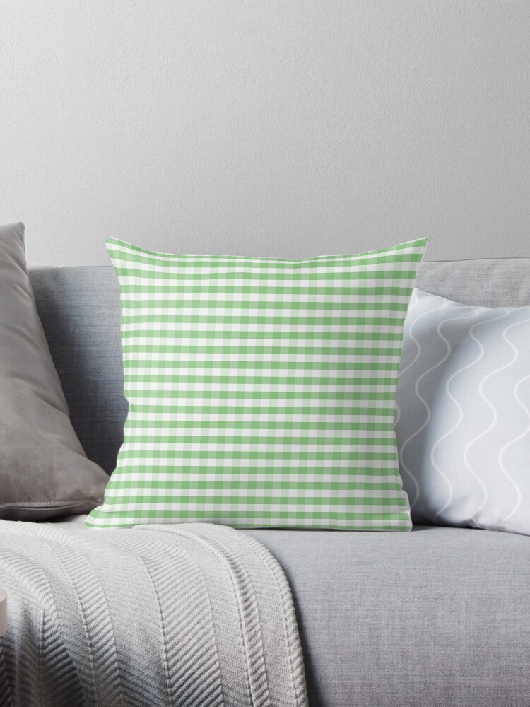 Color of the Year Large Greenery and White Gingham Check Plaid by podartist