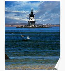 Orient Point Lighthouse; Long Island; New York State Poster