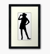 Western Theme - Cowgirl Silhouette Framed Print