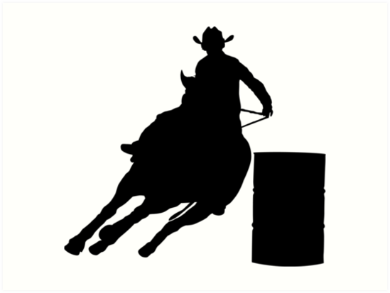 """Rodeo Theme - Barrel Racer Silhouette"" Art Prints by ..."