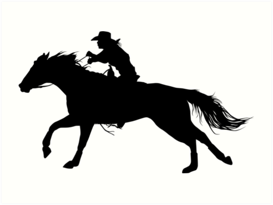 """""""Rodeo Theme - Barrel Racer Silhouette"""" Art Prints by ..."""