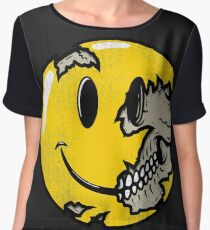 Smiley face skull Women's Chiffon Top