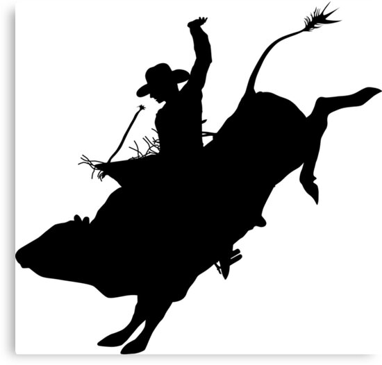 """""""Rodeo Theme - Bucking Bull Silhouette"""" Canvas Prints by ..."""