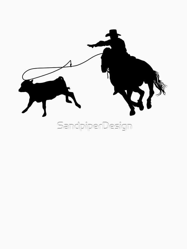 Rodeo Theme - Kalb Roping Silhouette von SandpiperDesign