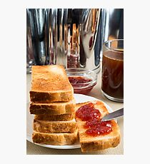Fried toast with strawberry jam Photographic Print