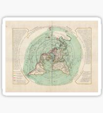 "Flat Earth Map : ""Planisphere Terrestre"" 17th Century Sticker"