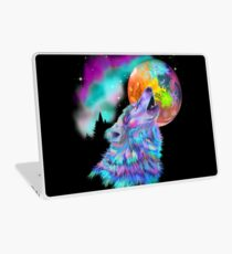 Colorful rainbow wolf howling  Laptop Skin