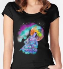 Colorful rainbow wolf howling  Women's Fitted Scoop T-Shirt
