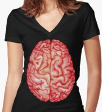 Watercolor brain Women's Fitted V-Neck T-Shirt