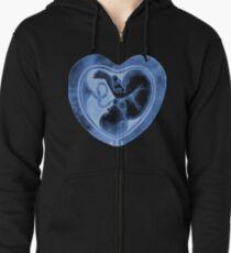 Watercolor fetus inside the heart shaped womb Zipped Hoodie