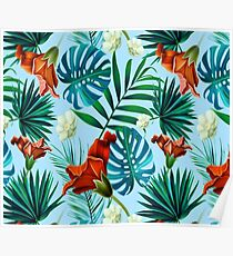 Sky blue tropical floral Poster