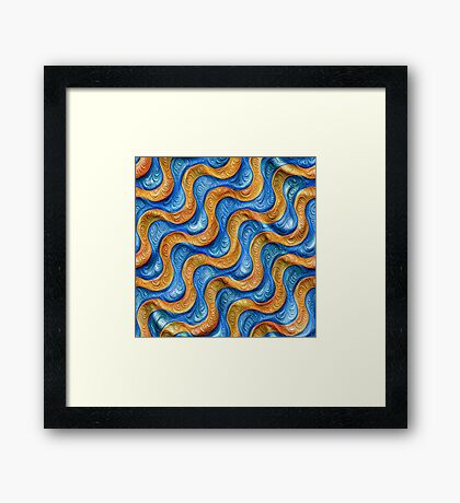 Frozen plasticine liquid lines and waves #DeepDream Framed Print