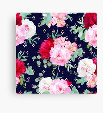 Navy floral seamless vector print with burgundy red and pink peony, alstroemeria lily, mint eucalyptus. Rainbow confetti blobs speckled graphic backdrop Canvas Print
