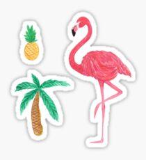 Tropical Trio Flamingo Pineapple Palm Tree Sticker