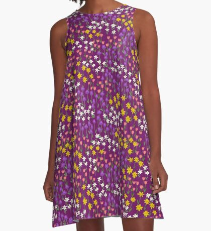 Violet Field of Flowers A-Line Dress