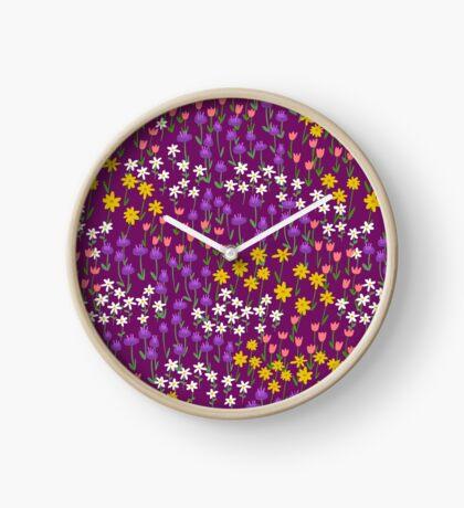 Violet Field of Flowers Clock