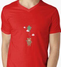 Brown Bear with Kite Mens V-Neck T-Shirt