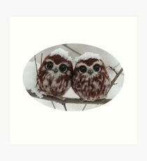 Two happy little owls Art Print