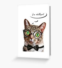 Hand drawn portrait of Cat with glasses and bow tie Greeting Card