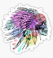 Hand Drawn Native American Indian Feather Headdress With Human Skull Sticker