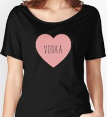 I Love Vodka Heart Black Women's Relaxed Fit T-Shirt