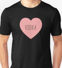 I Love Vodka Heart Black T-Shirt