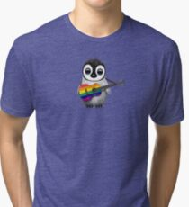 Baby Penguin Playing Gay Pride Rainbow Flag Guitar Tri-blend T-Shirt