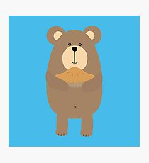 Brown Bear with pie Photographic Print