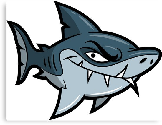 Lienzos «Personaje Loco De Dibujos Animados Tiburón» De