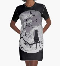 Le chat et la lune Robe t-shirt