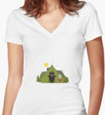 Grizzly Bear Camping Women's Fitted V-Neck T-Shirt