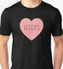 I Love Veggies Heart Black T-Shirt
