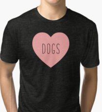 I Love Dogs Heart | Dog  Tri-blend T-Shirt